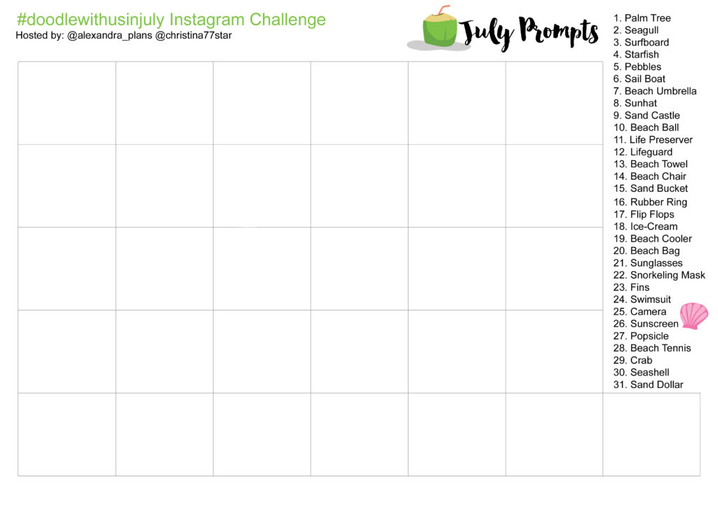 July Prompts and Table - IG Challenge - doodlewithusinjuly-3