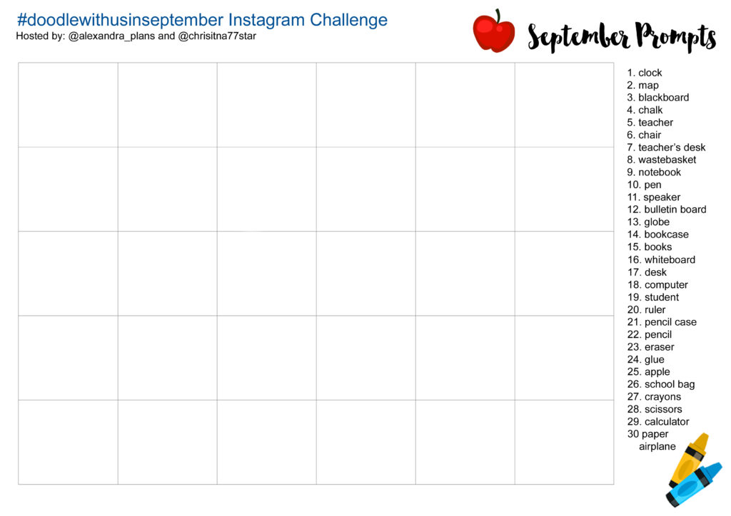 September Prompts and Table - IG Challenge - doodlewithusinseptember (1)