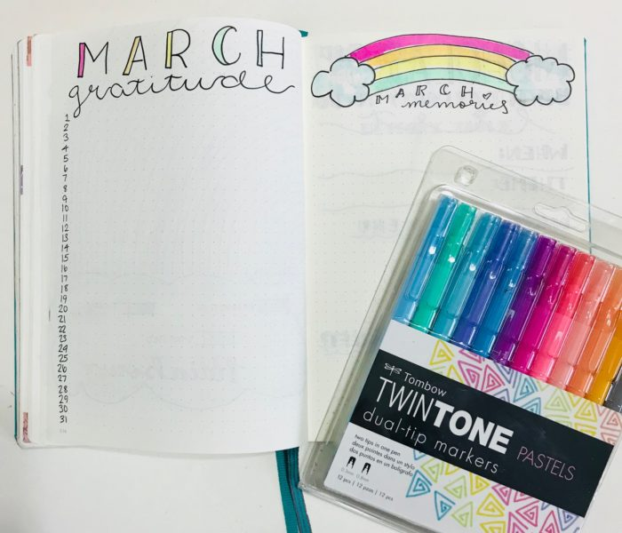 March 2018 Bullet Journal Setup